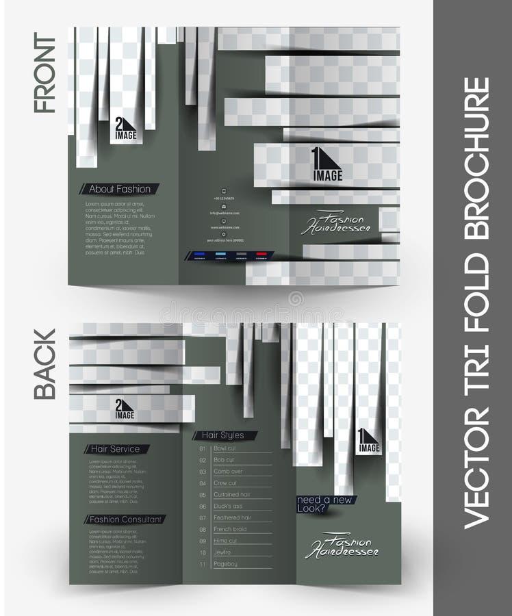Skönhetomsorg & trifold broschyr för salong royaltyfri illustrationer