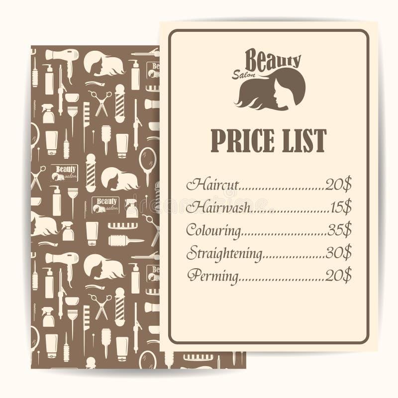Skönhetsalong, design för lista för frisersalongtappningpris stock illustrationer
