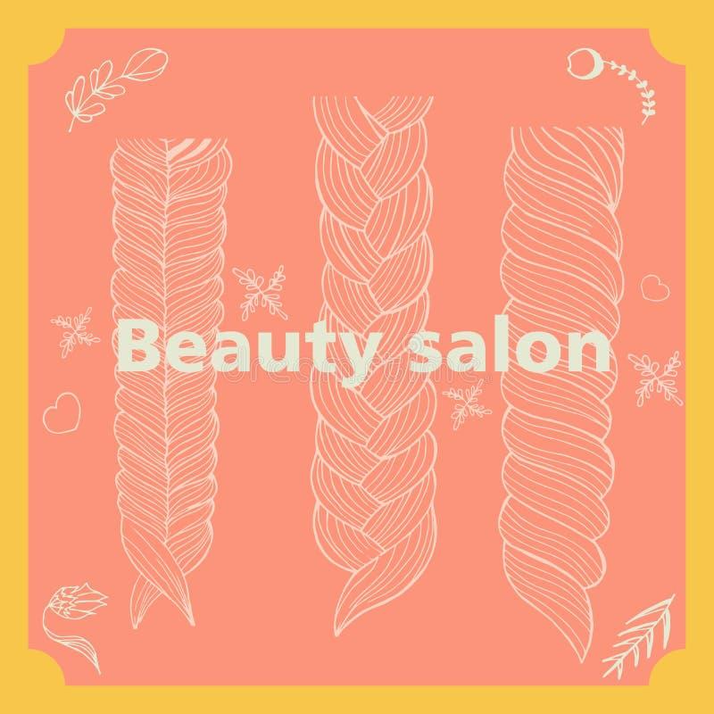 Skönhetsalong, frisyr, illustration vektor illustrationer