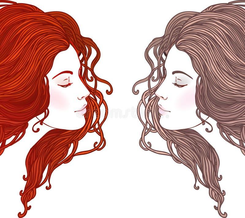 Skönhetsalong: Stående av den nätta unga kvinnan i profil vektor illustrationer