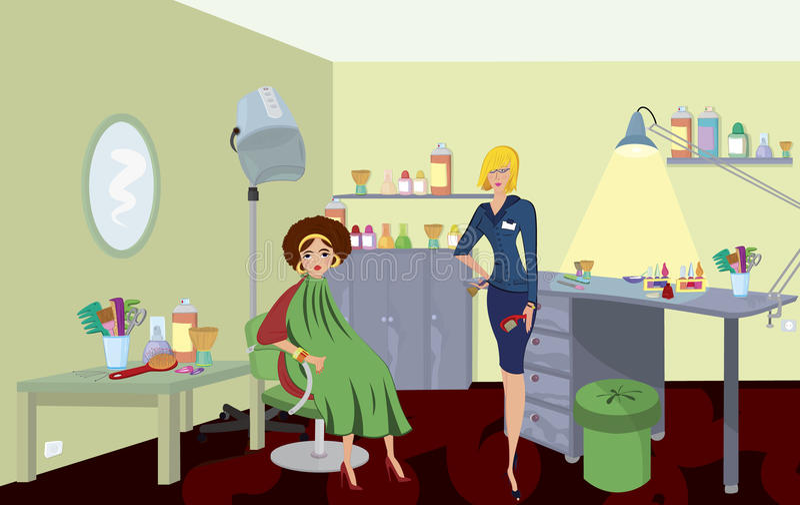 Skönhetsalongprofessionell med hårkammen royaltyfri illustrationer