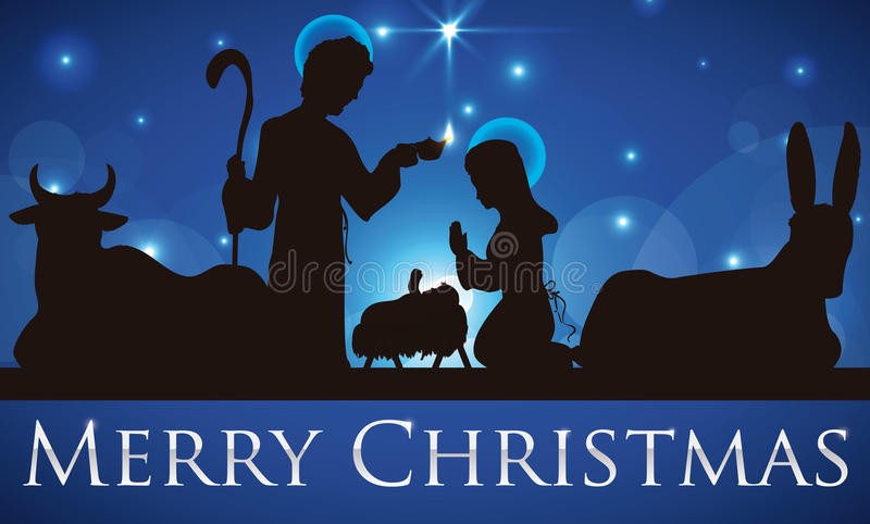 Skönhetsikt av den heliga familjkonturn som önskar dig glad jul, vektorillustration royaltyfri illustrationer