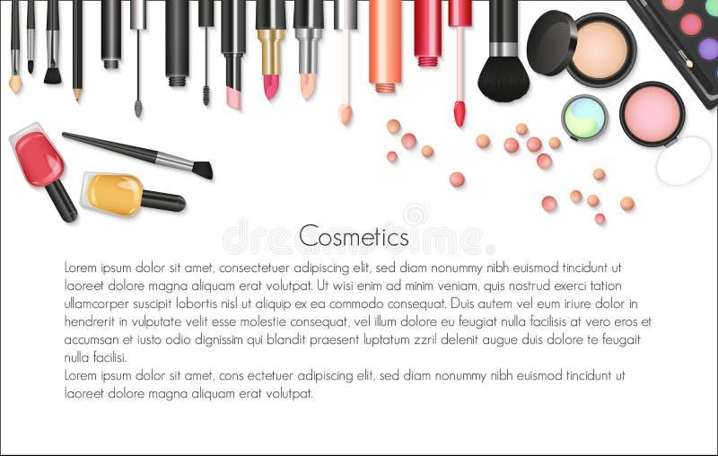 Skönhetskönhetsmedelmakeup med kosmetiska hjälpmedel Färgrik skönhetsmedelbakgrund, borstar och annan väsentlighet royaltyfri illustrationer