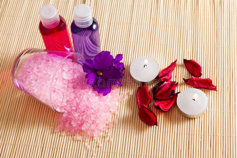 Skönhetsmedel för framsidan och kroppen, havet saltar, kronblad, dusch stelnar royaltyfri bild