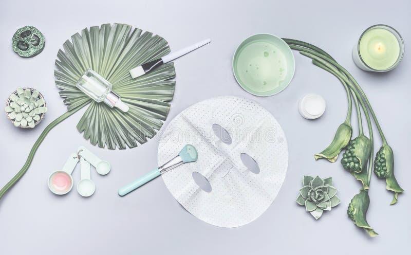 Skönhetsmedel för hudomsorg och ansikts- arkmaskering Olik skönhetsmedelprodukt arkivfoton