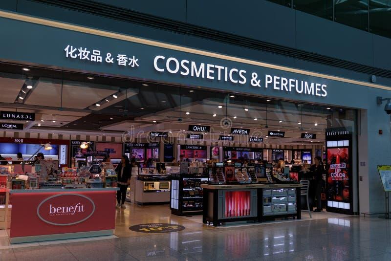 Skönhetsmedel och dofter, skattefri shoppinggalleria på Incheon den internationella flygplatsen royaltyfri fotografi