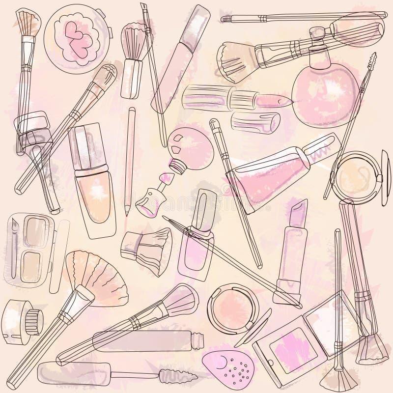 Skönhetsmedel och makeupborstar royaltyfri illustrationer