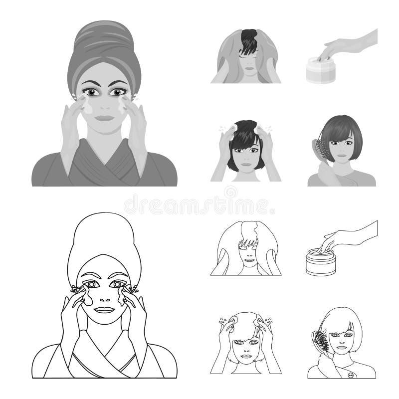 Skönhetsmedel, salong, hygien och annan rengöringsduksymbol i översikten, monokrom stil Servett som är hygienisk, frisör, symbole royaltyfri illustrationer