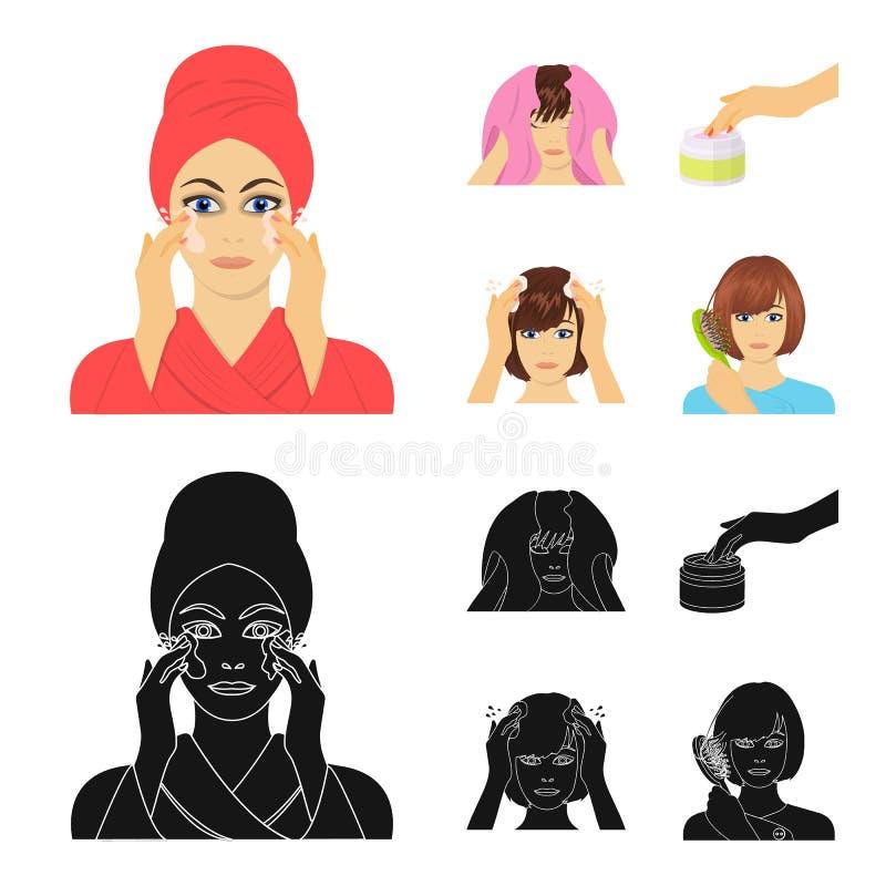 Skönhetsmedel, salong, hygien och annan rengöringsduksymbol i tecknade filmen, svart stil Servett som är hygienisk, frisör, symbo vektor illustrationer