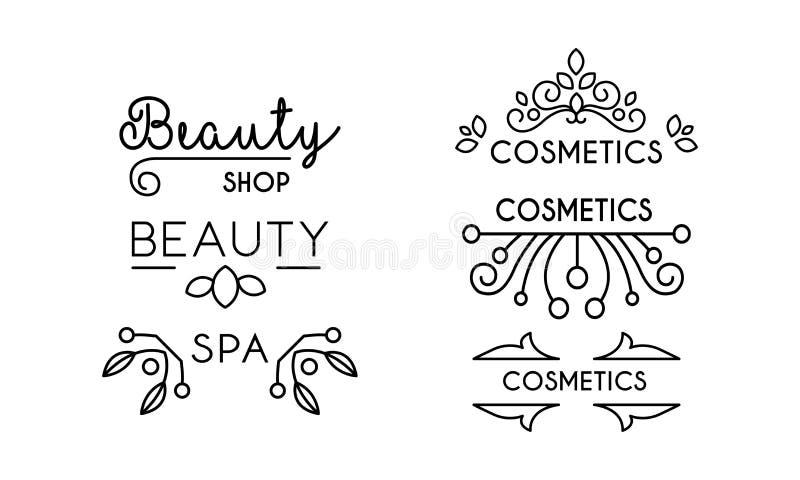 Skönhetsmedel skönhet, linjär logomall för brunnsort, emblem för hår, brunnsortsalong, organisk skönhetsmedelvektorillustration p vektor illustrationer