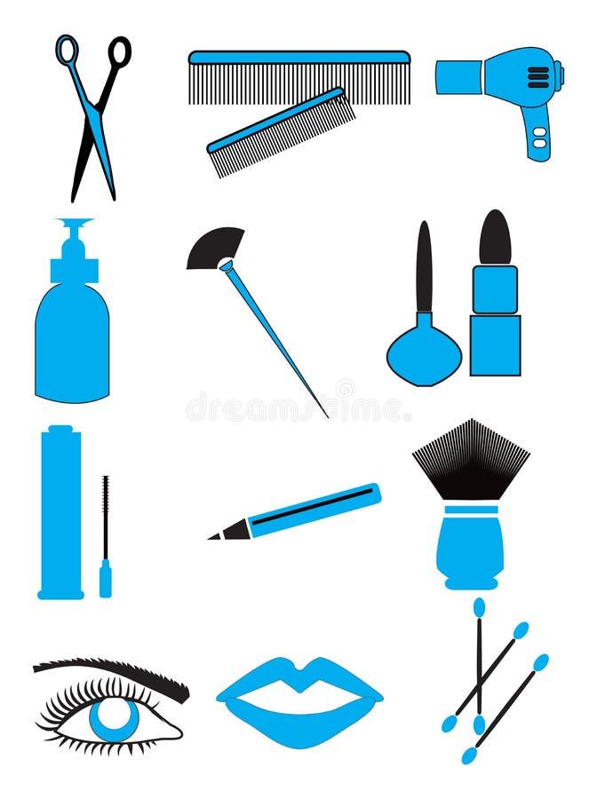 Skönhetsmedel sminksymboler stock illustrationer