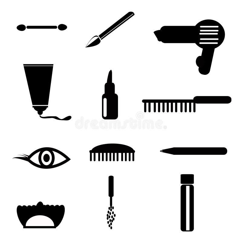 Skönhetsmedel sminksymboler royaltyfri illustrationer