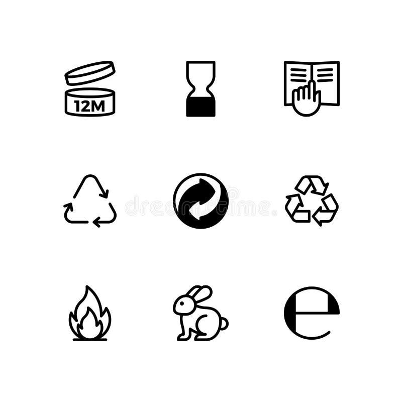 Skönhetsmedel som förpackar symboluppsättningen vektor illustrationer