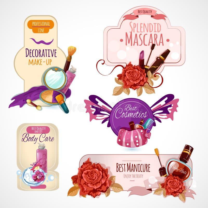 Skönhetsmedeletikettuppsättning stock illustrationer