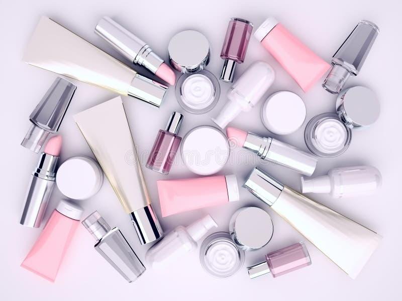 Skönhetsmedelkräm, lipstik och doft på grå bakgrund Top beskådar vektor illustrationer