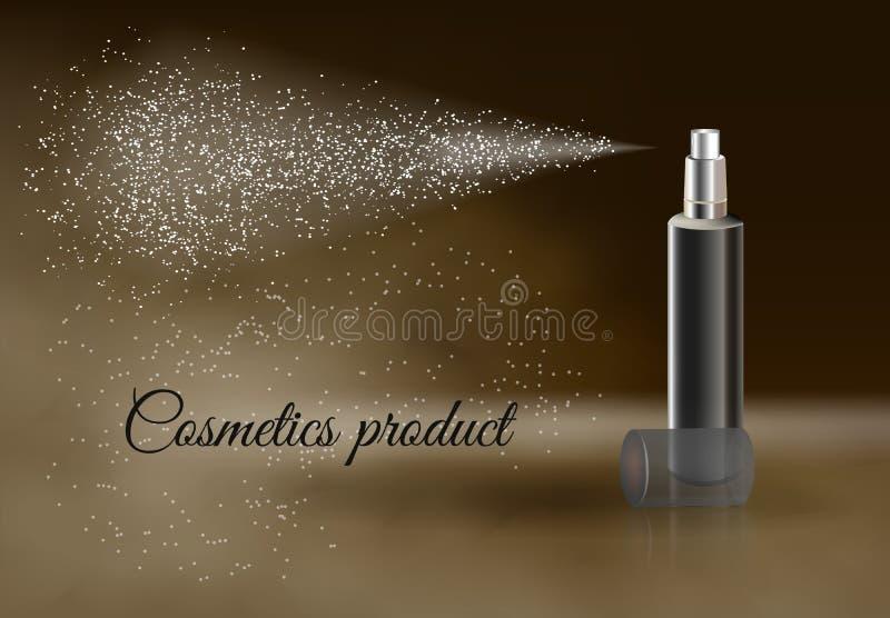 Skönhetsmedelprodukt som annonserar affischmallen stock illustrationer