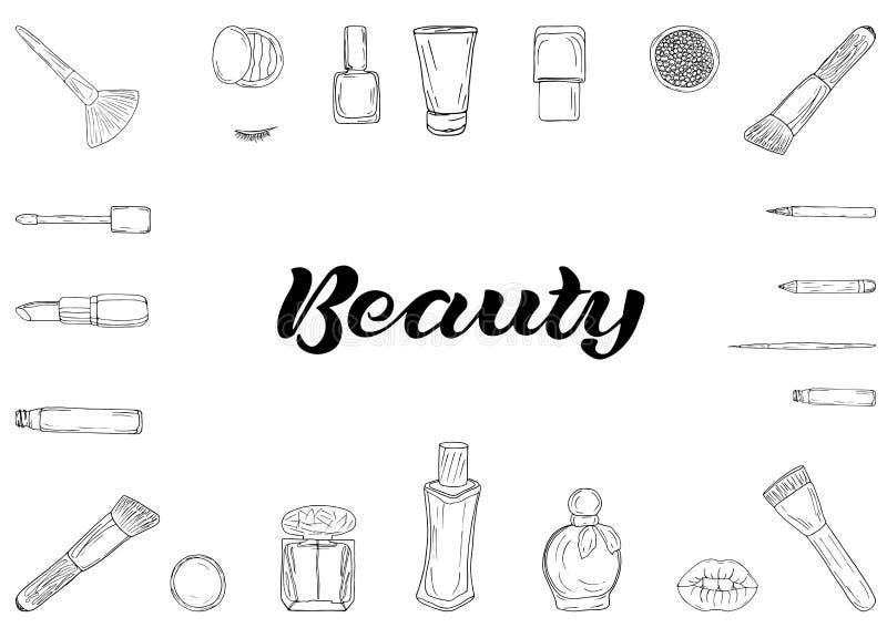 Skönhetsmedelprodukter, modemakeupbaner vektor illustrationer
