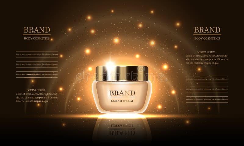 Skönhetsmedelskönhetserie, högvärdig kroppkräm för hudomsorg på guld- bakgrund, modell för designannonser, baner, vektorillustrat arkivfoto