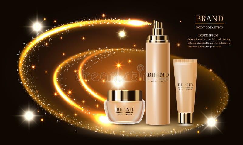 Skönhetsmedelskönhetsprodukt, högvärdig omsorg för hud för kroppsprejkräm, malldesignaffisch, banermodell, vektorillustration royaltyfri illustrationer