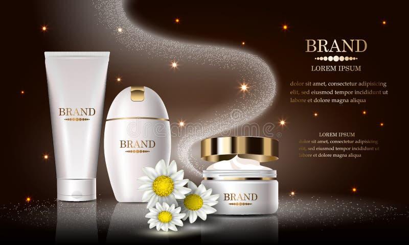 Skönhetsmedelskönhetsproduktuppsättning, högvärdigt schampo för kroppbrunnsortkräm för hudomsorg, malldesignaffisch, kosmetisk pr vektor illustrationer