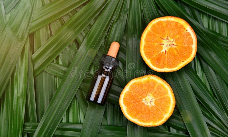Skönhetsmedelskincare med vitamin-cextrakten, kosmetiska droppglassflaskbehållare med nya orange skivor royaltyfria bilder