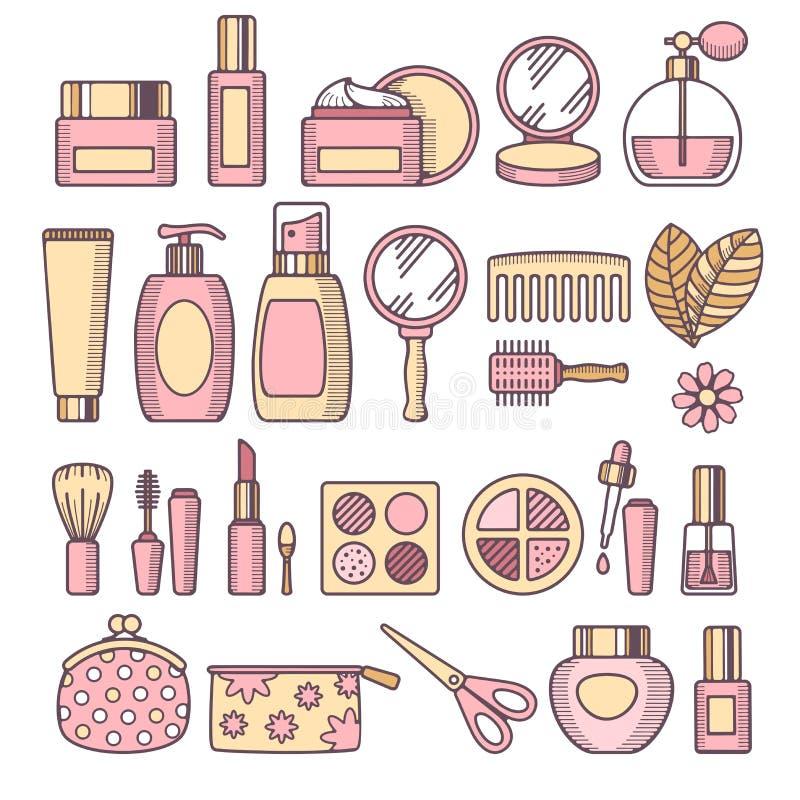 Skönhetsmedelsymbolsuppsättning stock illustrationer