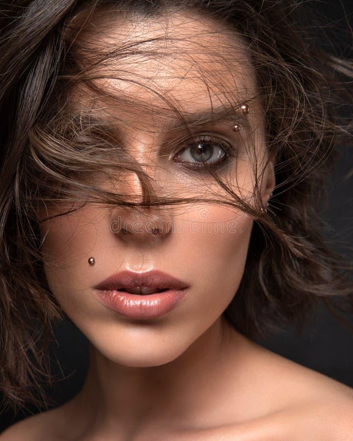 Skönhetsporträtt av vackra hondjur med blåsande hår royaltyfria bilder