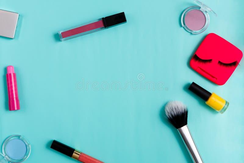 Skönhetsprodukter dagligt smink, skönhetsmedel fotografering för bildbyråer