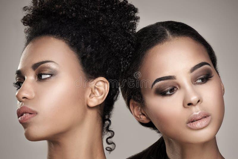 Skönhetstående av två afrikansk amerikanflickor royaltyfria foton
