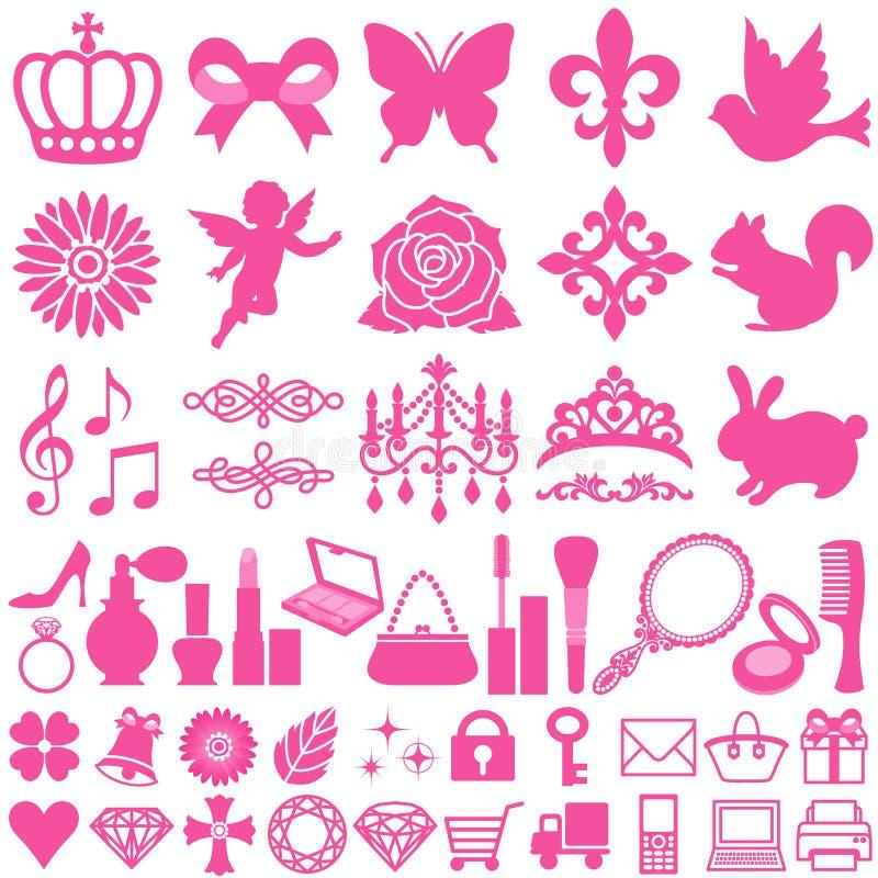 skönhetsymboler royaltyfri illustrationer