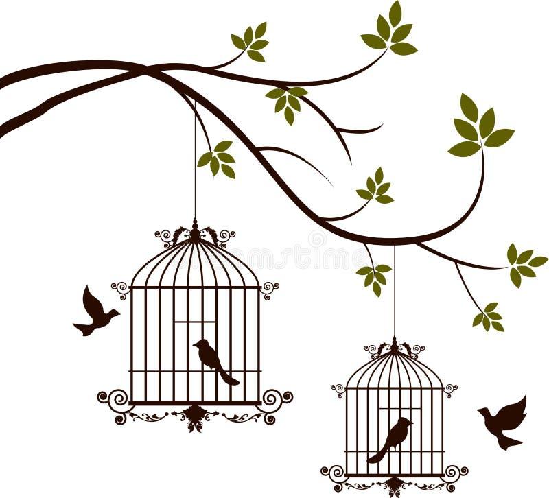 Skönhetträdkontur med att flyga för fåglar och fågel i en bur vektor illustrationer