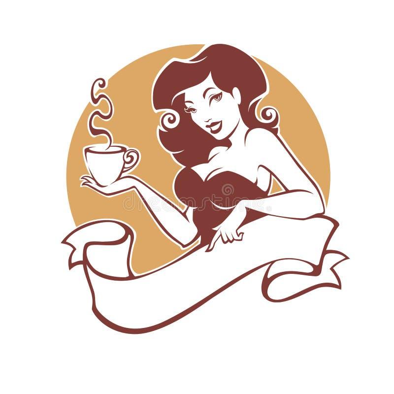 Skönhetutvikningsbrudkvinna med kopp te eller kaffe, logo för restauran stock illustrationer