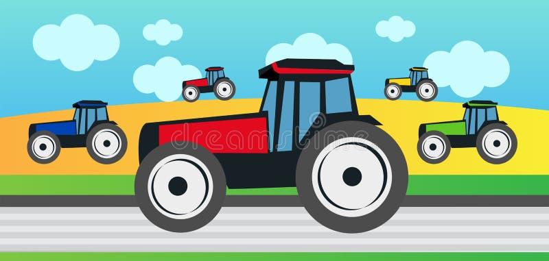 Skörd och många traktorer stock illustrationer