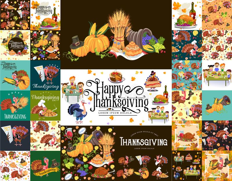 Skörda fastställda organiska foods som frukt och grönsaker, lycklig tacksägelsematställebakgrund, vektorillustration royaltyfri illustrationer