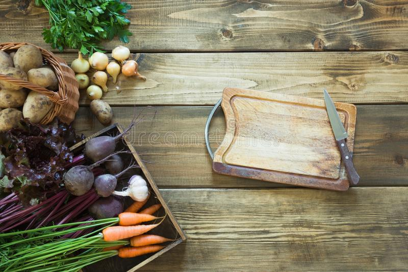 Skörda nya grönsaker från moroten, rödbeta, löken, vitlök på gammalt träbräde Top beskådar Arbeta i trädgården kopiera avstånd arkivbild