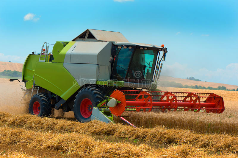 Skördearbetaremaskin som skördar arbete för vetefält Jordbruk royaltyfri foto