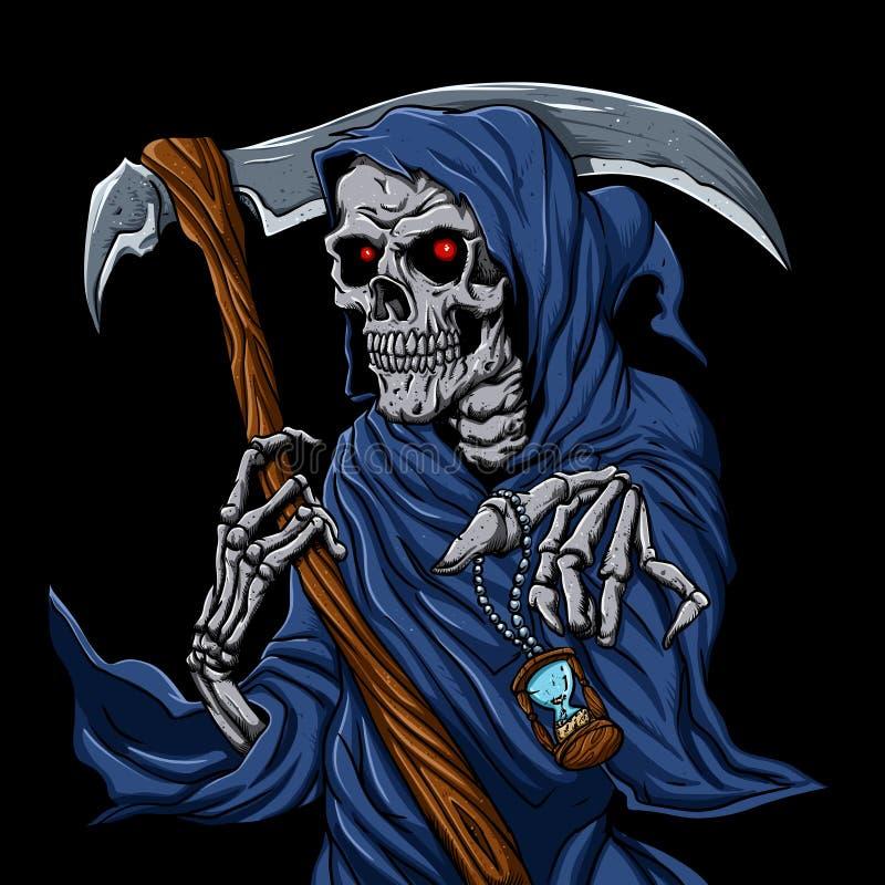 Skördemaskin som är grym med det svartvita timglaset - spökeskalle - royaltyfri illustrationer