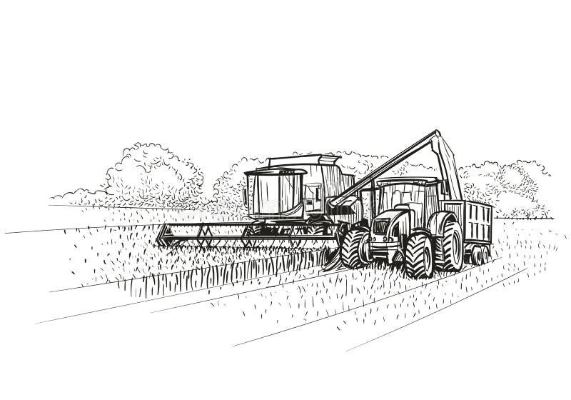 Skördetröska och traktor på arbete på fält stock illustrationer