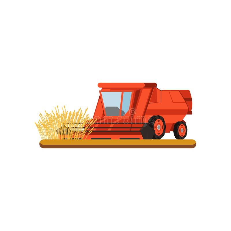 Skördetröska som arbetar i annalkande vete för fält, vektorillustration för jordbruks- maskineri på en vit bakgrund stock illustrationer