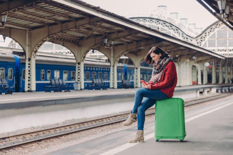 Sköt av iklädd tillfällig kläder för den unga europeiska kvinnan, sitter på bagage, rymmer mobiltelefonen som var lycklig att mot royaltyfri foto
