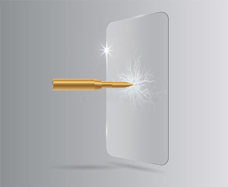Sköt en kula i skyddande exponeringsglas, en spricka på exponeringsglas Räkning för film för vektorskärmbeskyddande isolerad glas royaltyfri illustrationer