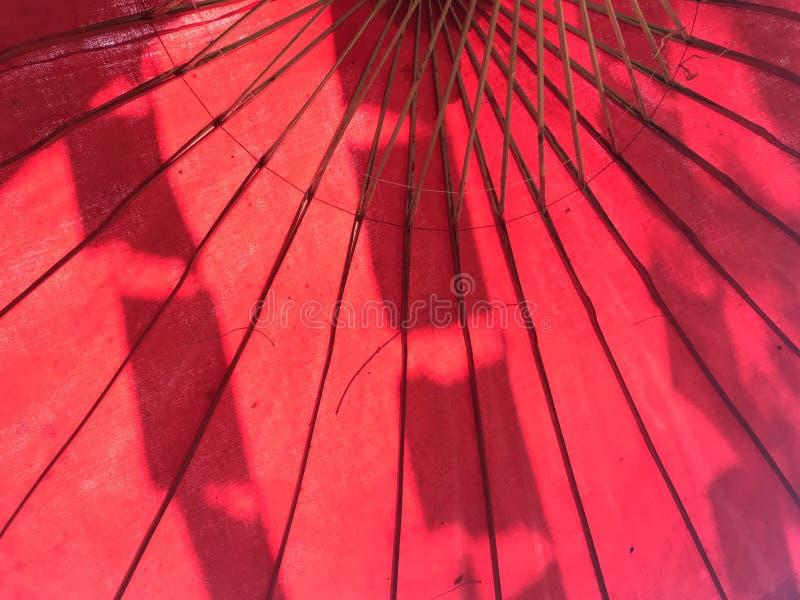 Sköt från under det stora pappersparaplyet för den röda mullbärsträdet med rektangelflaggaskugga royaltyfri foto