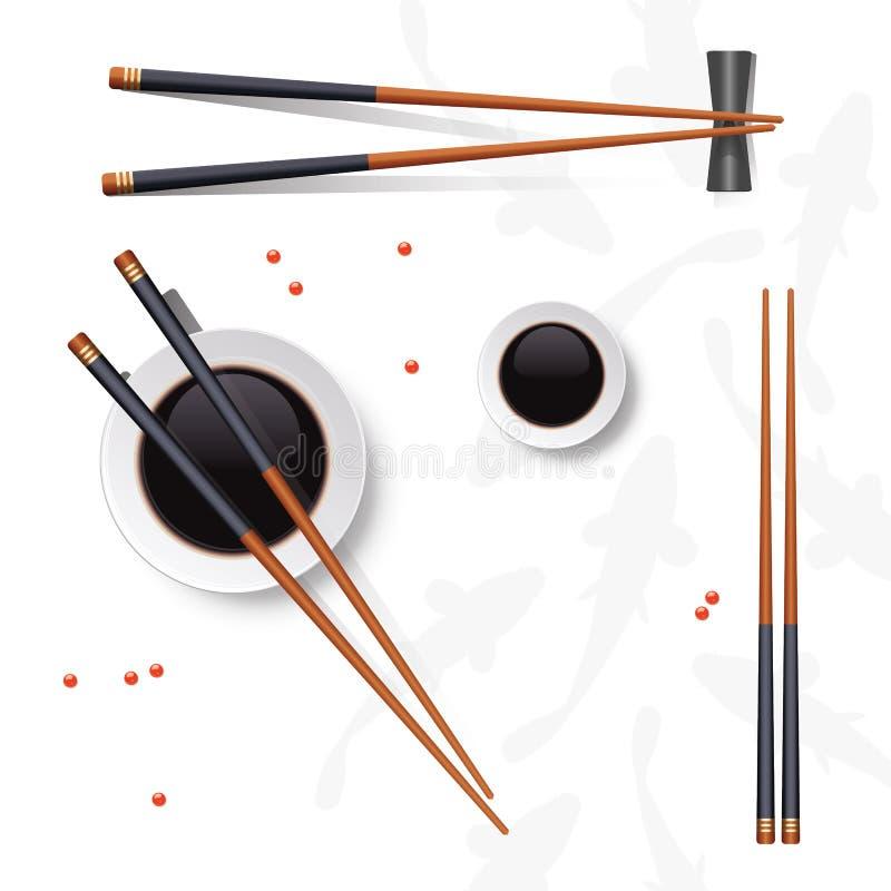 sköt sushi för black set Pinnar och soya som isoleras på vit Vektor il royaltyfri illustrationer