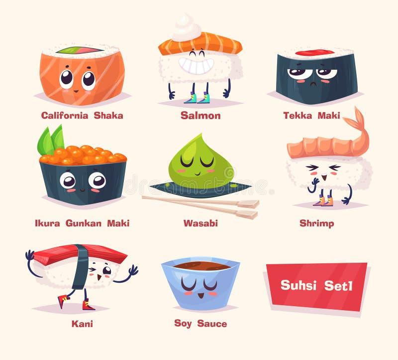 sköt sushi för black set Soya- och sushirulle Japansk mat vektor illustrationer