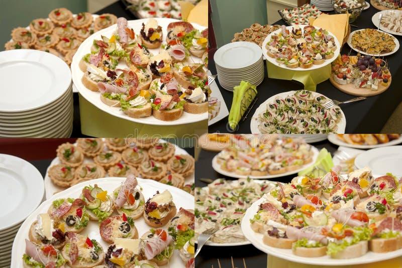 Sk?ta om, collage f?r foto f?r matservicef?retag fyra f?r matservice som annonserar, massor av smaklig mat och aptitretare, smorg arkivfoton