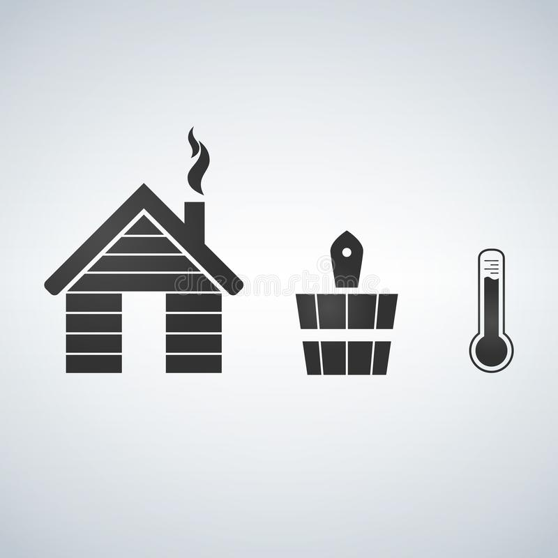 Skąpania i sauna akcesoriów ikony set ilustracji