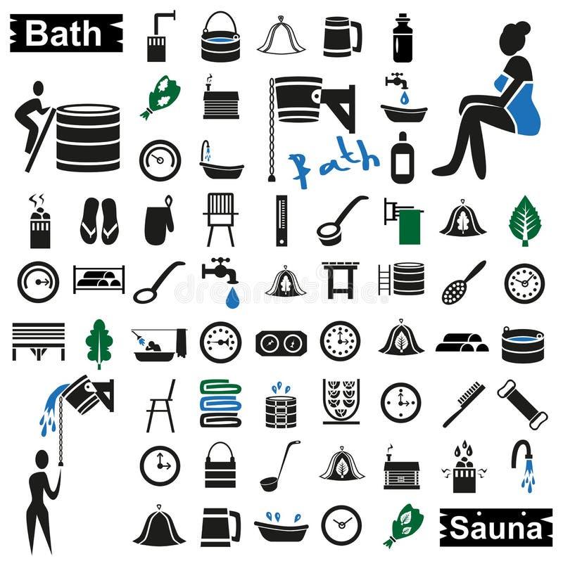 Skąpania i sauna ikony na bielu ilustracji