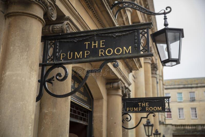 Skąpanie, Somerset, UK, 22nd 2019 Luty, wejście Pompowy pokój obraz royalty free