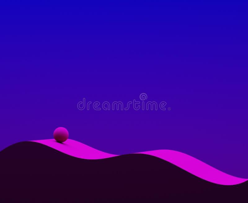 skład abstrakcjonistyczna geometria Fala i sfery 3d ilustracja Błękit i magenta Nowożytny projekt dla plakata, pokrywa, oznakuje, zdjęcia royalty free