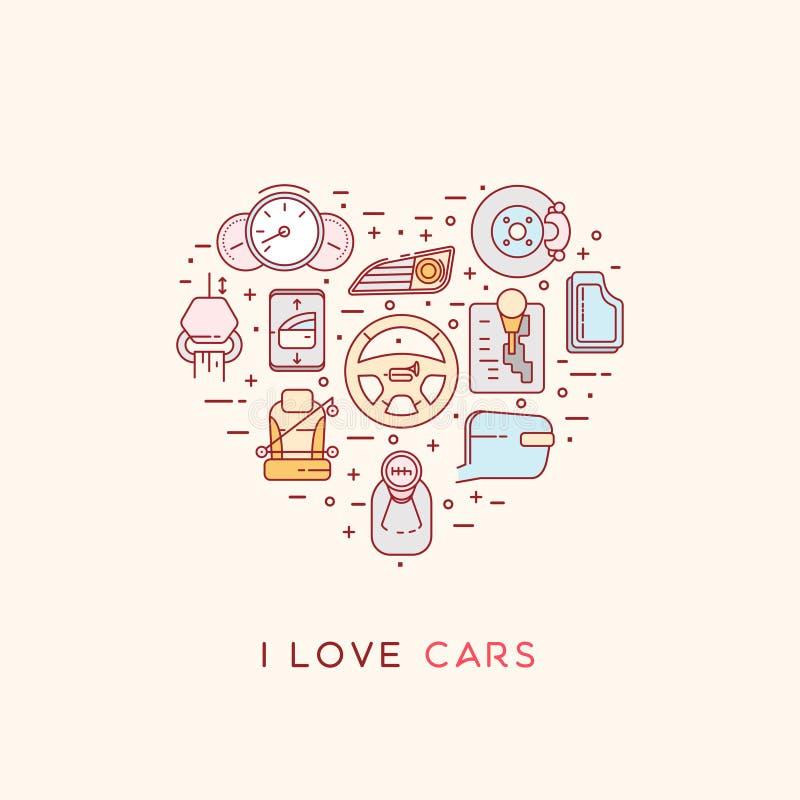 Skład automobilowe ikony royalty ilustracja